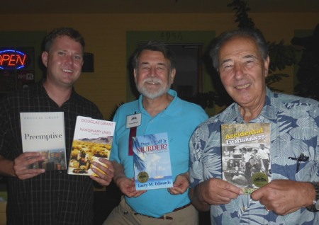Authors (l-r) Douglas Grant, Larry Edwards and David Ward discuss their books at the Te Mana Cafe in San Diego (Ocean Beach)