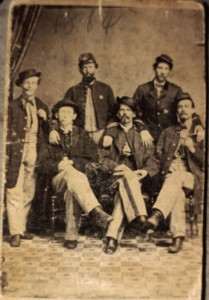 Oney Foster Sweet (far left) with companions from the 1st Pennsylvania Light Artillery, Battery F, 1864